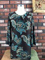 Alyn Paige New York Dress 3/4 Sleeve keyhole Multi Color Women's Size S