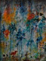Original oil painting, abstract, signed by Nalan Laluk: Into the Woods