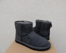 UGG BLACK MENS CLASSIC MINI WASHED DENIM SHEEPSKIN BOOTS, US 8/ EUR 40.5 ~NEW
