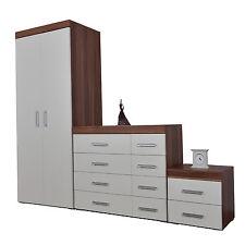 Bedroom 3 Piece Set 4+4 Chest 2 Drawer Bedside Cabinet & Wardrobe White & Walnut