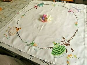 VINTAGE HAND EMBROIDERED TABLECLOTH/ BEAUTIFUL CRINOLINE LADIES& FLOWERS GARDENS