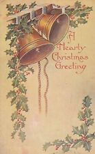 Vintage Christmas  Postcard  GOLD BELLS HANGING, GOLD CORD  EMBOSSED POSTED 1907