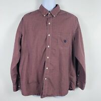 Chaps Mens Dress Shirt Sz XL Red Check Button Front Long Sleeve Casual Work JF61