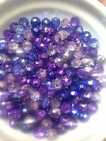 60 Austrian Crystal Glass Rondelle Beads -   Purple/Blues Metallic  -6mm