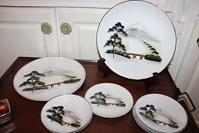 Vintage 8 pc. mixed lot Lily China Decorative Hand painted H.Hattori dishes