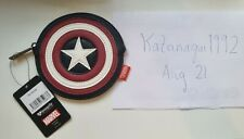 More details for bnwt disney marvel loungefly captain america's shield coin purse, heart logo