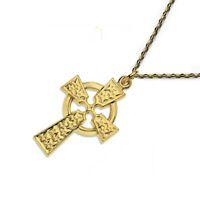 9ct Yellow Gold Celtic Cross and Chain 26x16mm Quality UK 375 HM NEW Gift Box