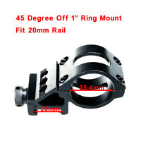 45° Offset 25.4mm Ring Mount 20mm Weaver Picatinny Rail For Scope laser Torch