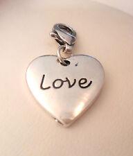 Clip Charm Silver Love Heart Dangle Fits Sweetie Links Bracelets Girl Wife UK