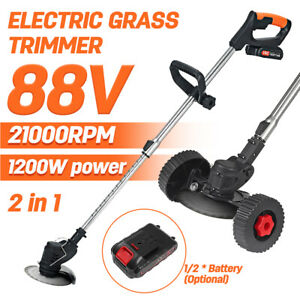 88V 1200W Electric Weed Eater Lawn Edger Cordless Grass String Trimmer Cutter