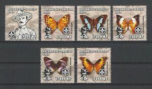 Mozambique 2002 Sc#1600a-f  Boy Scouts Baden-Powell & Butterflies MNH Set $9.50