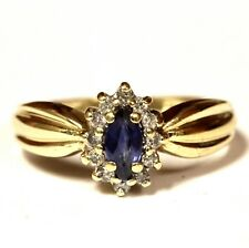 10k yellow gold .12ct VS G diamond halo sapphire ring 2.2g estate vintage womens