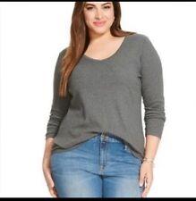 Ava & Viv Plus Size 4X 28W/30W Top  Long Sleeve Gray V-neck Tee shirt