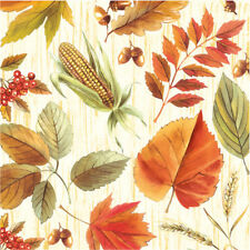 "Thanksgiving Paper Luncheon Napkins 2x20 pcs 13""x13"" Harvest Times, Corn, Leaves"