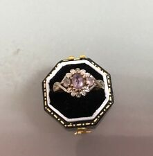 Women's Vintage Gold Ring Amethyst & Diamonds Size P Weight 2.5g Stamped