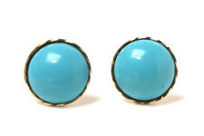 9ct Gold Turquoise button Studs earrings Made in UK Gift Boxed