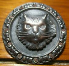 """Antique French Button """"Persian Cat"""" w/Paste Vintage Silver Plated Metal Picture"""