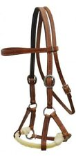 Showman Argentina Cow Leather Side Pull w/ Twisted Rope Nose!! NEW HORSE TACK!!
