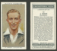 PLAYER'S 1934 CRICKETERS J.IDDON Card No 14 of 50 CRICKET CIGARETTE CARD
