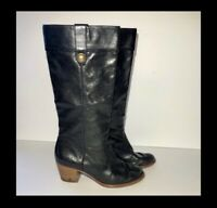 Coach Fayth Tall Riding Black Leather Women's Boots Size 6.5 B