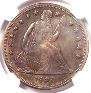 1845 Seated Liberty Silver Dollar $1 Coin - NGC Uncirculated Detail (UNC MS)!