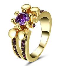 Amethyst CZ Zircon Skul Women's 10KT Yellow Gold Filled Wedding Party Ring Size7