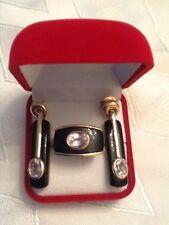 Omar Torres 14k Rose Gold Kunzite and Onyx Earrings and Ring Set