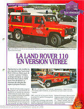 Land Rover 110 Hard Top VLHR 4X4  Fire engine Sapeur Pompier FICHE FIREFIGHTER