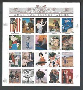 U S Full Sheet Of Mint Stamps Scott #3502 American Illustrators See Info