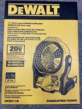 New DEWALT 20V MAX Cordless/Corded Jobsite Fan DCE511B Sealed Retail Box