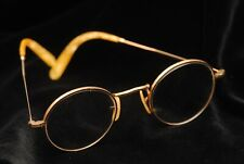 VINTAGE ROUND WIRE RIM GLASSES IN CASE, GERMAN, EARLY 1900s? GOLD FILLED? (PK)