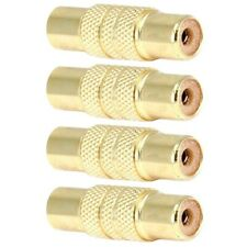 4 Pcs RCA Female to Female Coupler Audio Adapter Connector Cable Joiner Gold