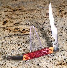 "Vtg Remington UMC Folding Fish Knife - Stag Derlin Handles - **NICE** 5"""