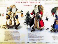 Vintage Victorian Christmas Santas Applique by Joan Messmore Fabric Panel