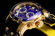 New Invicta Scuba Pro Diver Swiss Chrono 18K Gold Plated Blue DialS.S Poly Watch