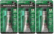3 Pack Black Clubman Moustache Wax With Brush/Comb 14 g 0.5 fl oz Each