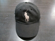 Ralph Lauren Polo Hat Cap Black White Big Pony Strap Back Adjustable Mens 90s A7