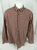 LL Bean Red Plaid Flannel 100% Cotton Long Sleeve Button Down Large Shirt