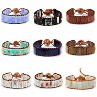 Fashion Natural Stone Tube Beads Bracelet Handmade Leather Wrap Bangle Women Men