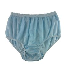 Vintage style Blue Silky Nylon Gusset Full Briefs Knickers Plus size Panties BIG