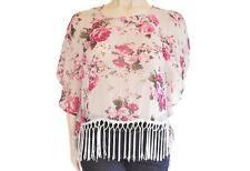 TEMT SZ 12 WOMENS White & Pink Floral Tassels Batwing Sleeve Kaftan Blouse Top