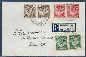 Northern Rhodesia 1937 sg 25,7,32 7d rate Definitives PM BULAWAYO 14 Aug 54