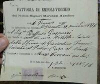 1891 283) FATTURA FATTORIA DI EMPOLI VECCHIO MARCHESI AZZOLINO VENDITA VITELLO