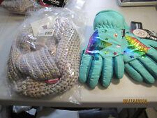 New w tags Girls 4-16 So® Metallic Star Ski Gloves Sz M/L & So Infinity Scarf