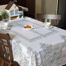 NEW Vintage Home Wedding Party White Lace Tablecloth Table Cover 200cm x 140cm
