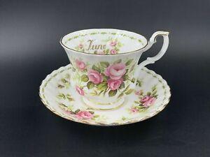 Royal Albert June Flower of Month Series Roses Tea Cup Saucer Bone China England