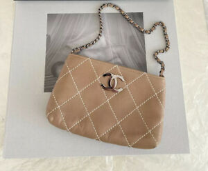 SALE** Authentic CHANEL Two Tone Stitch Mini CC Logo Shoulder Bag Gently Used!