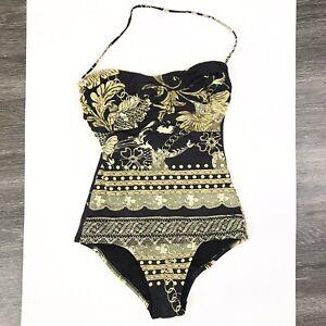 La Perla size 42 small 6 Swimsuit One Piece Black Gold Chain Print Halter Floral
