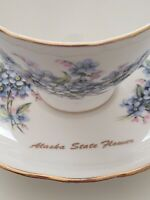Royal Vale Cup And Saucer Alaska State Flower Forget Me Not Bone China Gold Trim