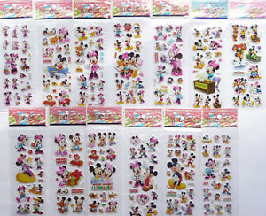 DISNEY MICKEY MOUSE MINNIE MOUSE PUFFY STICKER SHEETS choose quantity party bags